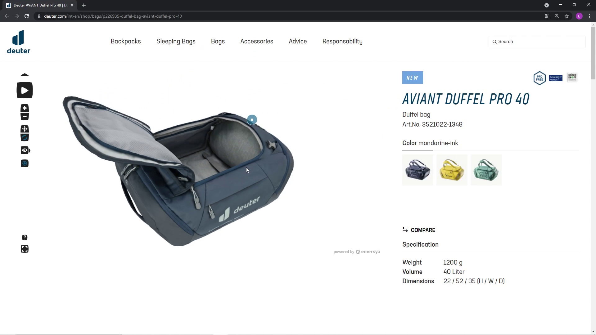 Preview image of Explore Deuter backpacks in 3D, inside and out!
