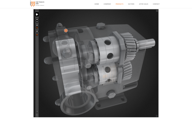 IPP animated hydraulic pump in Interactive 3D