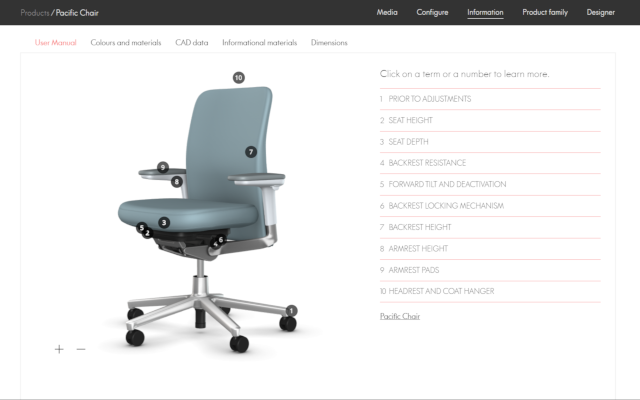 Vitra Office chair tutorials in Interactive 3D