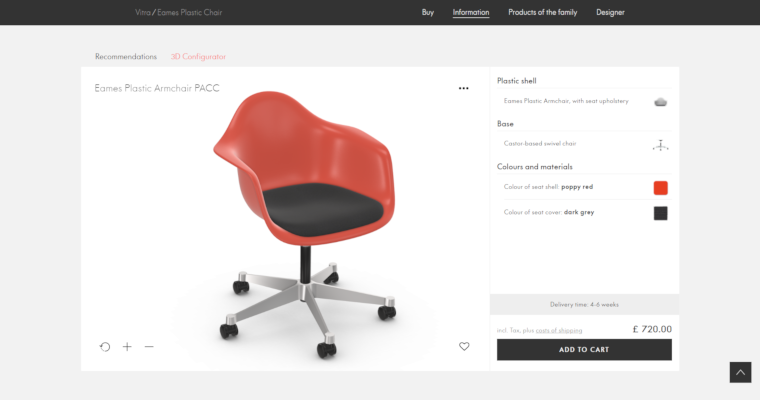 Vitra Chair Configurators in Interactive 3D