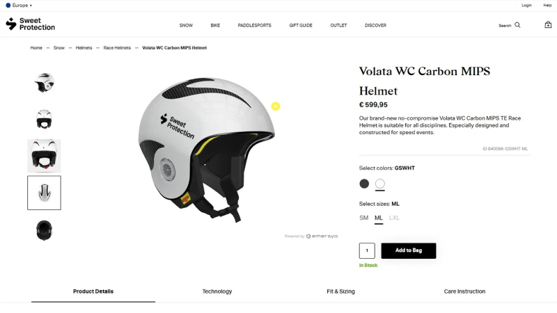 Sweet Protection helmets with Interactive 3D animation