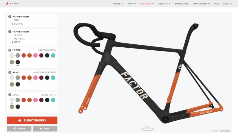 Factor 02 Prisma Studio - online bike customization in Interactive 3D