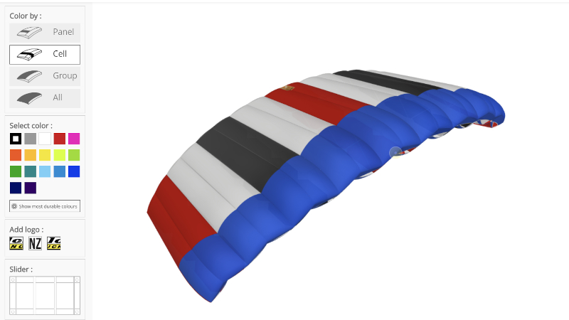 NZ Aerosports Interactive 3D Parachute canopy customization