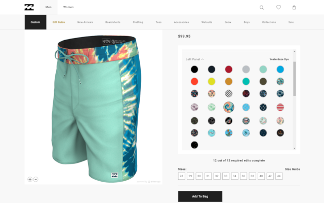 Billabong Custom Boardshorts Interactive 3D configurator